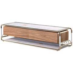 Goldfinger TV Table With Polished Brass and White Marble