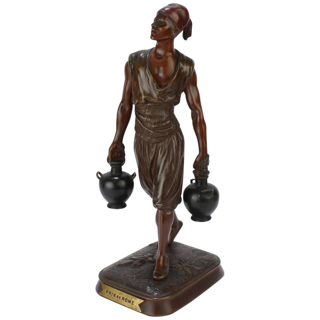 French Orientalist Bronze Tunisian Water Carrier Sculpture by Jean-Didier Debut