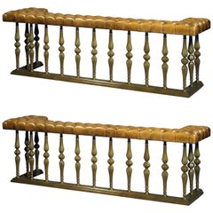 A Fine Pair of Large Brass and Leather Button-Upholstered Club Fenders