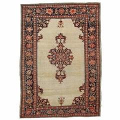 Antique Farahan Sarouk Rug, Handmade Oriental Rug, Ivory, Red, Navy, VERY FINE