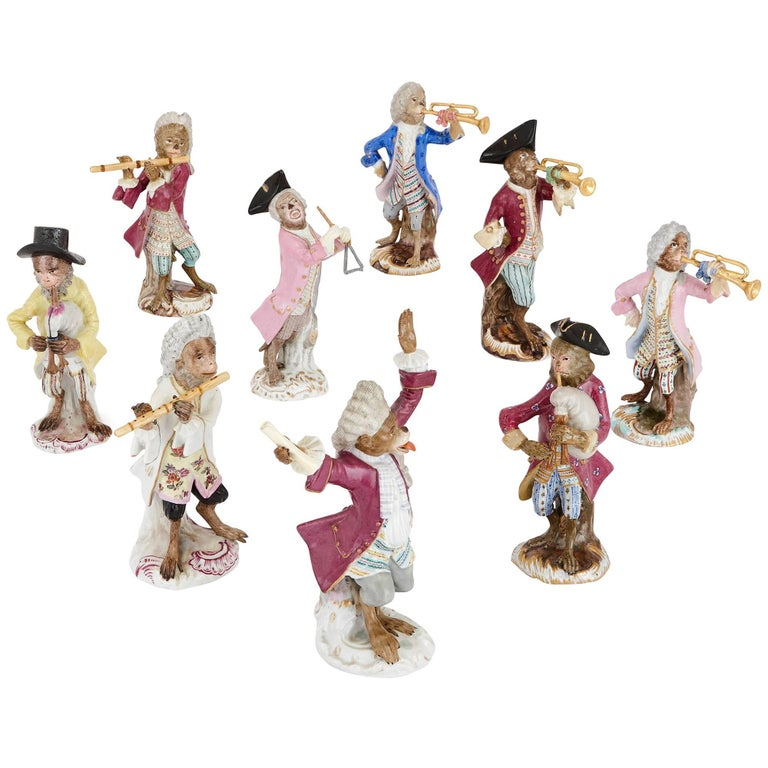 19th Century Meissen Porcelain Nine Piece Monkey Band Set For Sale