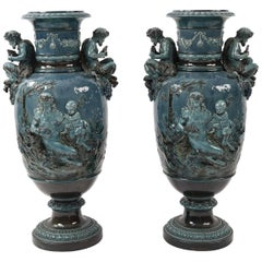 Pair of Monumental Blue French Majolica Decorative Urns