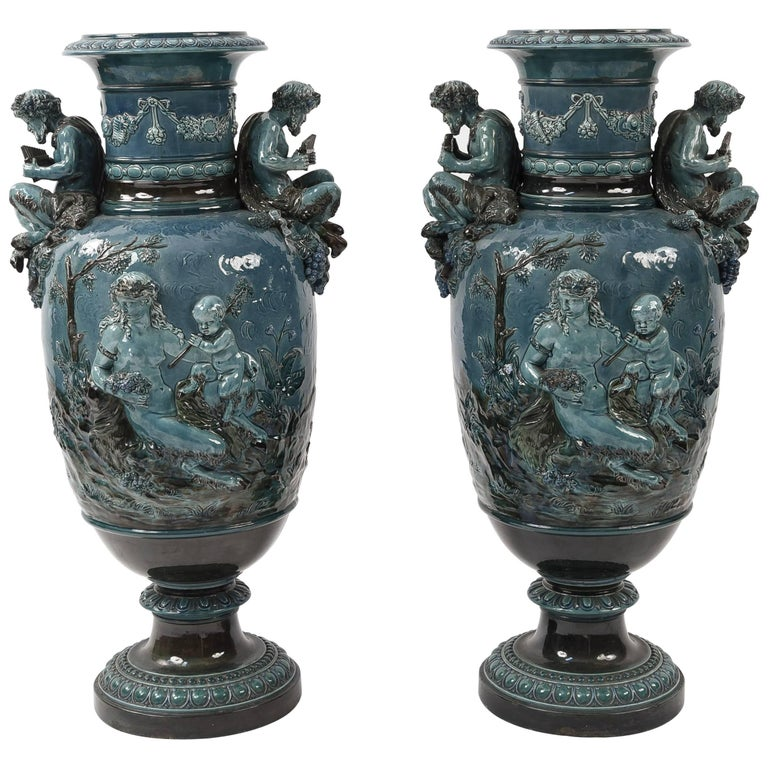 Pair Of Monumental Blue French Majolica Decorative Urns For Sale At Stunning Decorative Urns For Sale