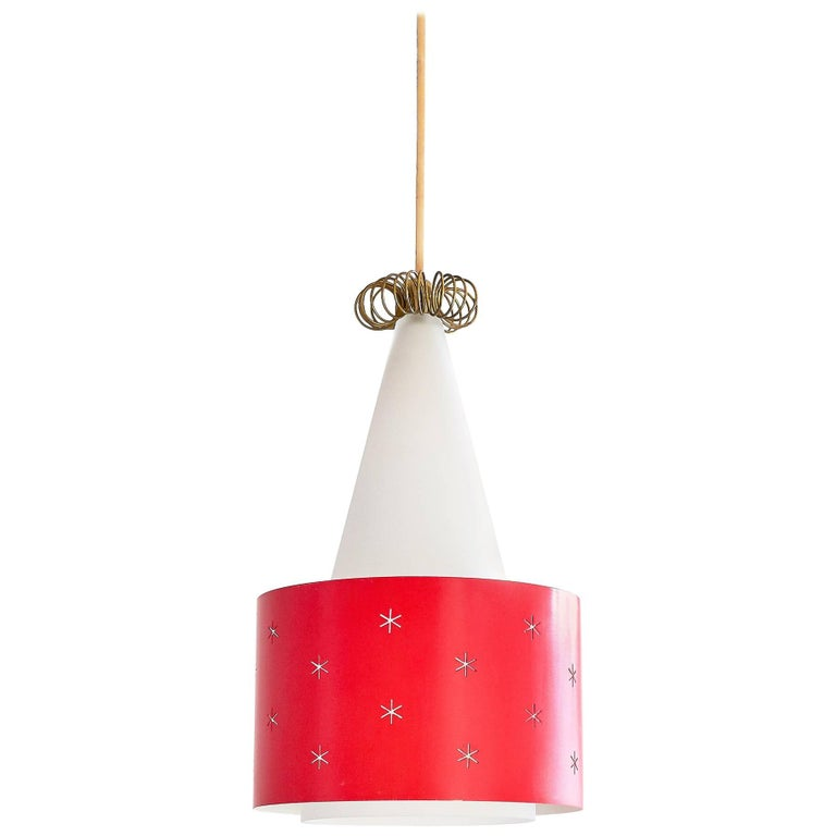 Paavo Tynell Red Pendant, Model K2-10, Idman Finland, 1955 For Sale