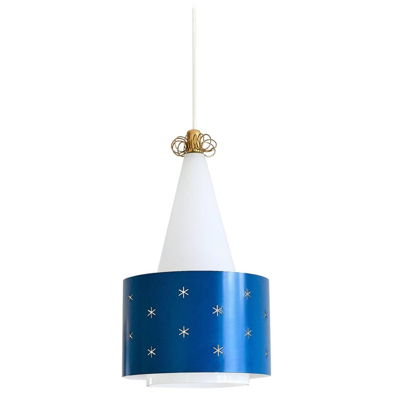 Paavo Tynell Blue Pendant, Model K2-10, Idman Finland, 1955 For Sale