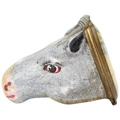 Antique English Figural Horse Head Battersea Staffordshire Enamel Bonbonniere