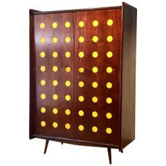Modern Cimo Armoire in Hardwood with Yellow Details