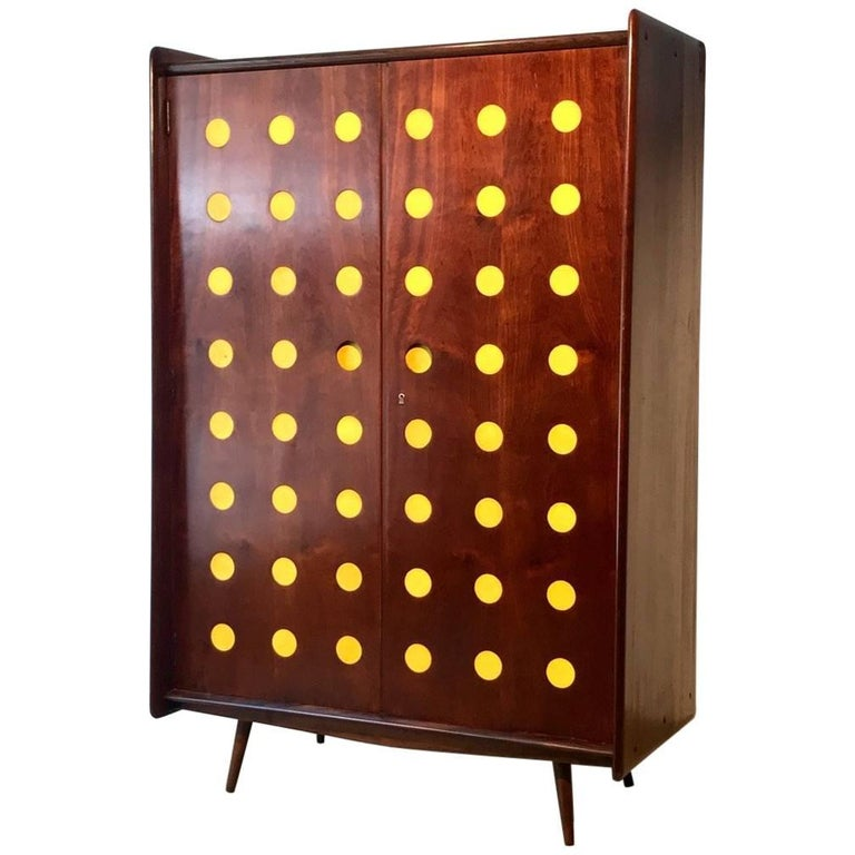 Modern Cimo Armoire in Hardwood with Yellow Details For Sale