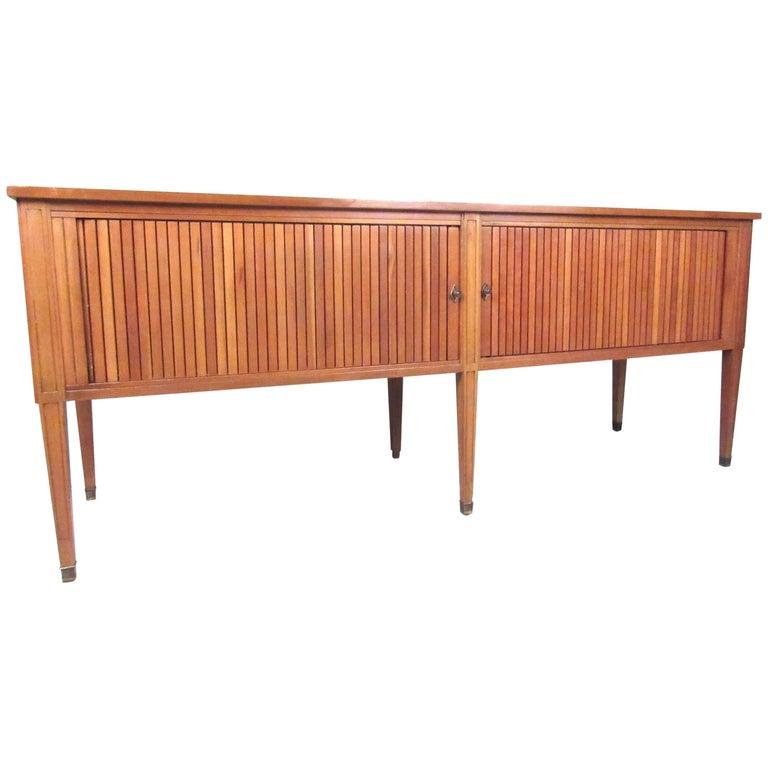 Mid-Century Modern Tambour Door Record Cabinet