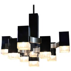 Cubic Chandelier by Gaetano Sciolari, Chromed and Brushed Metal and Lucite, 1970