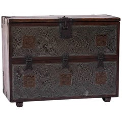 Chest Korea Limewood Silver Inlay Brown Storage 19th Century Trunk