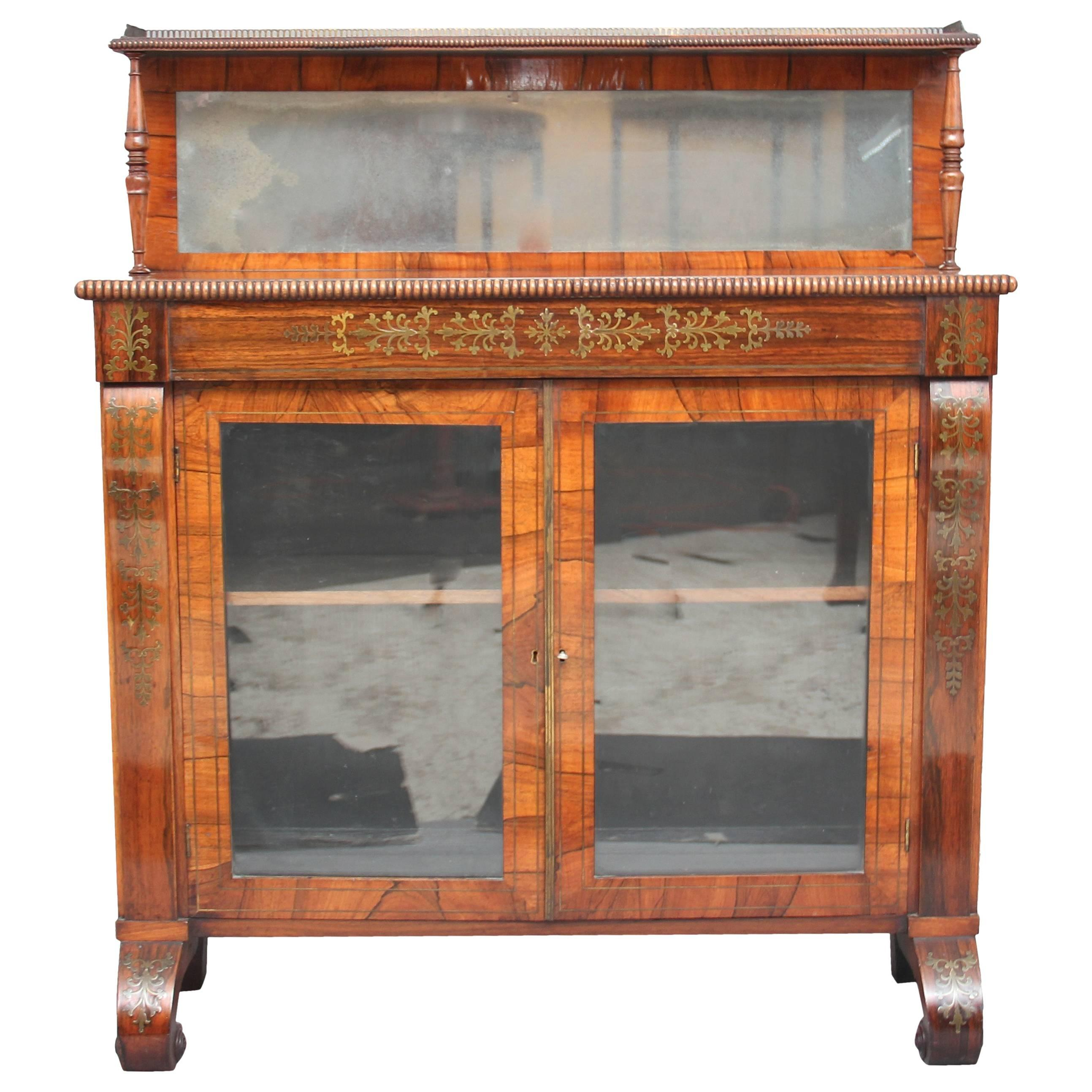 Regency Rosewood and Brass Inlaid Chiffonier