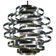 Cyclone Chandelier by Gaetano Sciolari, Polished Aluminium and Lucite, 1970s