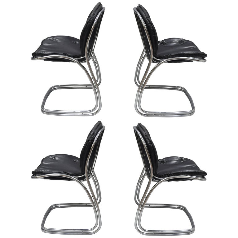 Sabrina Dining Chairs Attributed to Gastone Rinaldi for RIMA Chrome Set of Four
