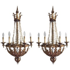 Pair of Italian Gold Tole and Crystal Basket Sconces
