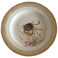 Royal Copenhagen Flora Danica Fish Plates #19/3549 with a Crab