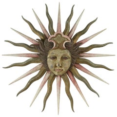 Carved Wood & Painted Sun Sculpture