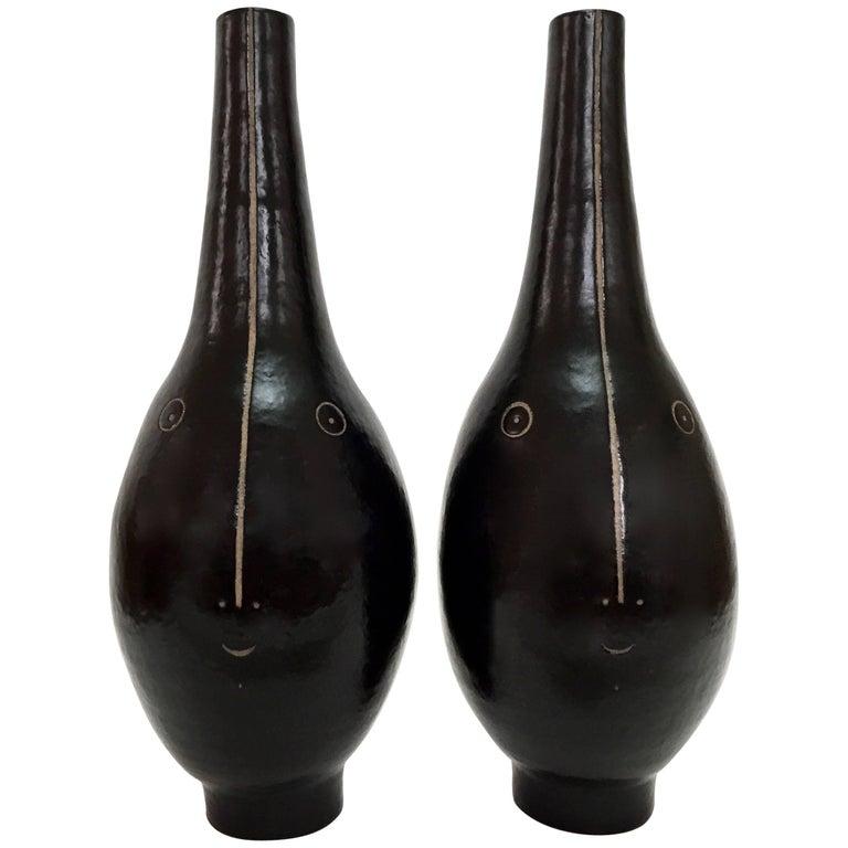 Dalo, Large Pair of Ceramic Lamp Bases Glazed in Black