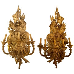 Pair of 19th Century Opposing Figural Bronze Monumental Five Light Wall Sconces