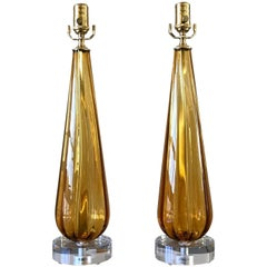 Pair Italian Amber Glass Teardrop Shaped Lamps