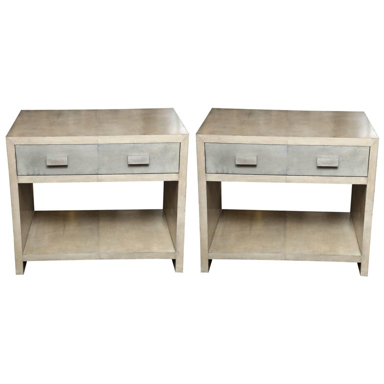 Pair of Parchment Nightstands For Sale