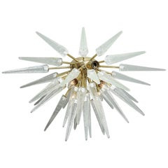 Murano Clear Spike Half Flush-Mount Sputnik