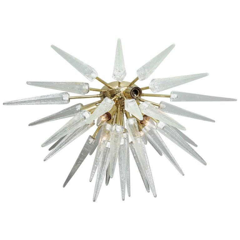 Murano Clear Spike Half Flush-Mount Sputnik