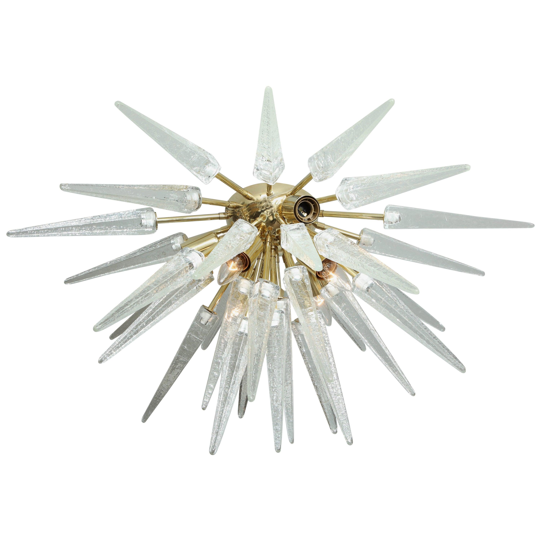 Clear Murano Glass Spike Sputnik Flush Mount