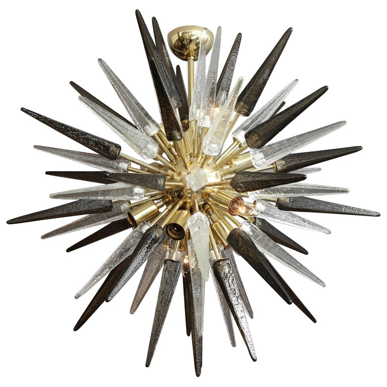 Murano Smoke and Clear Glass Spike Sputnik