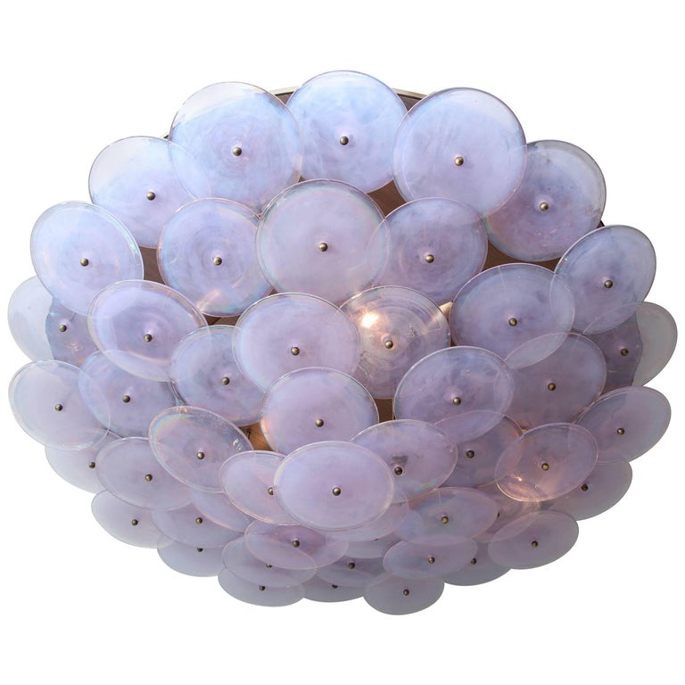 Custom Murano Glass Disc Flush Mount Fixture