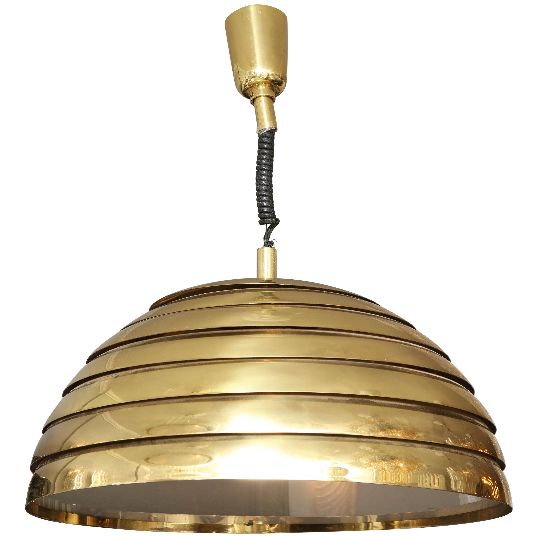 Large brass dome pendant light by florian schulz