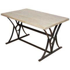 Iron and Bleached Oak Table or Desk, Belgium, circa 1940s