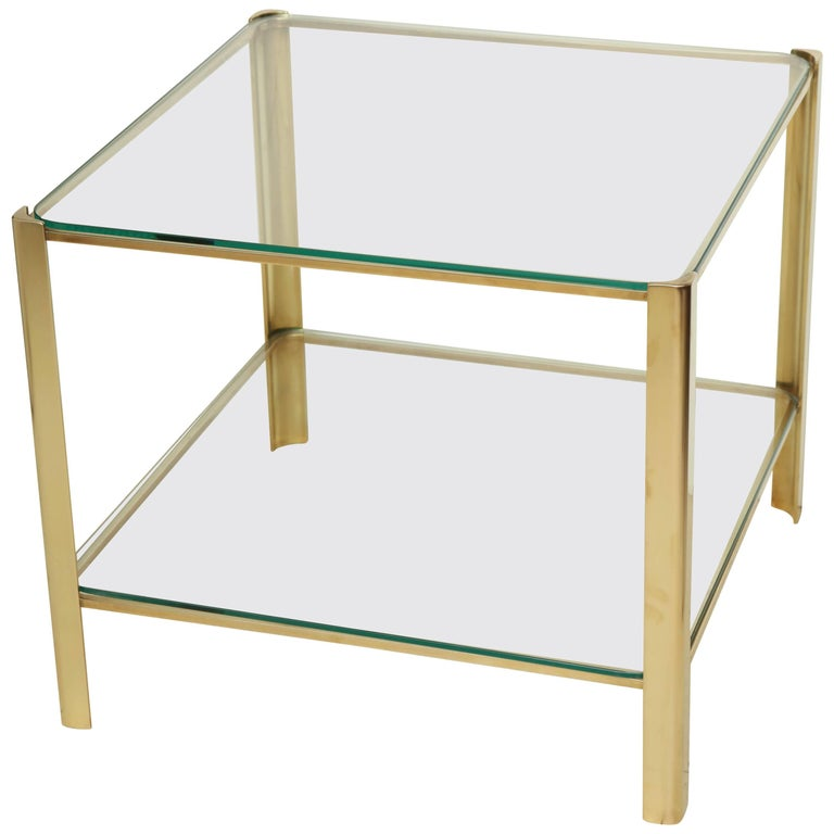 Square Midcentury Brass and Glass Side Table by Maison Malabert, circa 1960s
