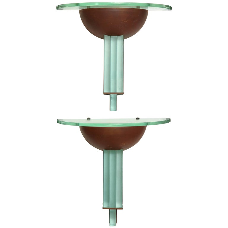 Pair of Art Deco Copper and Glass Sconces by Fontana Art, Attributed to Chiesa