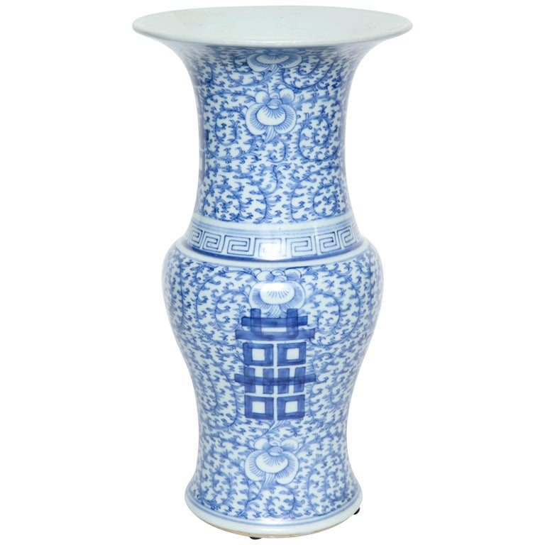 Blue And White Chinese Flower Vase Ceramic China Pottery Mid Late