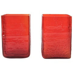 Pair of Danish Holmegaard Red Square Art Glass Vases