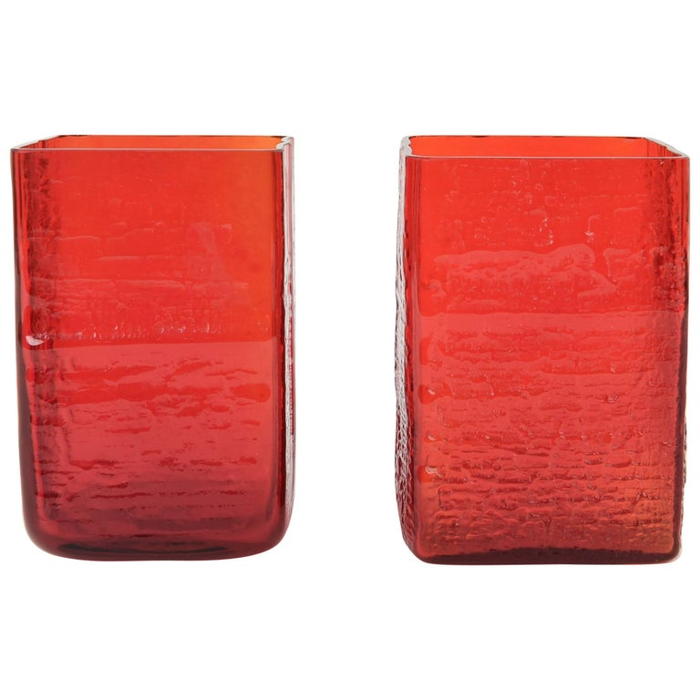 Pair Of Danish Holmegaard Red Square Art Glass Vases For