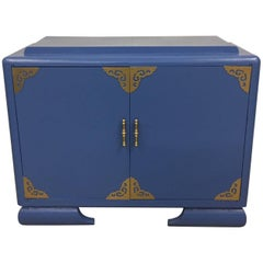 Asian Themed Athens Blue and Brass Cabinet