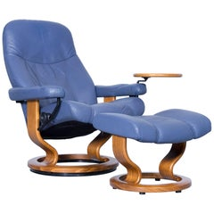 Stressless Consul Relax Armchair and Footstool Set Blue Leather Relax Function