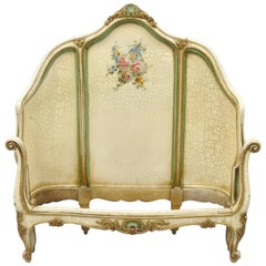 French Louis XV Style Twin Bed Frame Green and Cream Distress Painted Finish