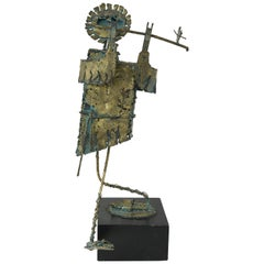 Bijan Brutalist Man Playing Flute Sculpture