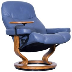 Stressless Consul Relax Armchair Light Blue Leather Relax Function TV Recliner