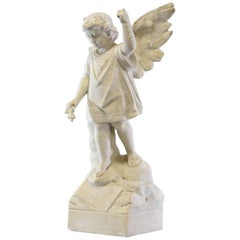 Antique Outdoor Garden Winged Angel or Child Marble Sculpture