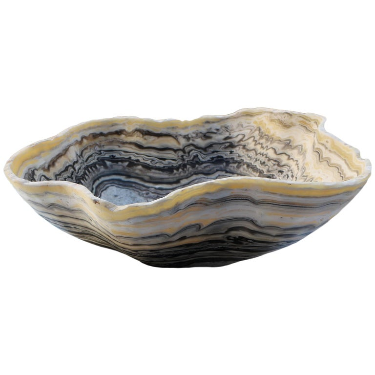 Free-Form Hand Carved Onyx Bowl
