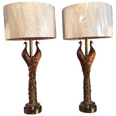 Pair of New Peacock Lamps