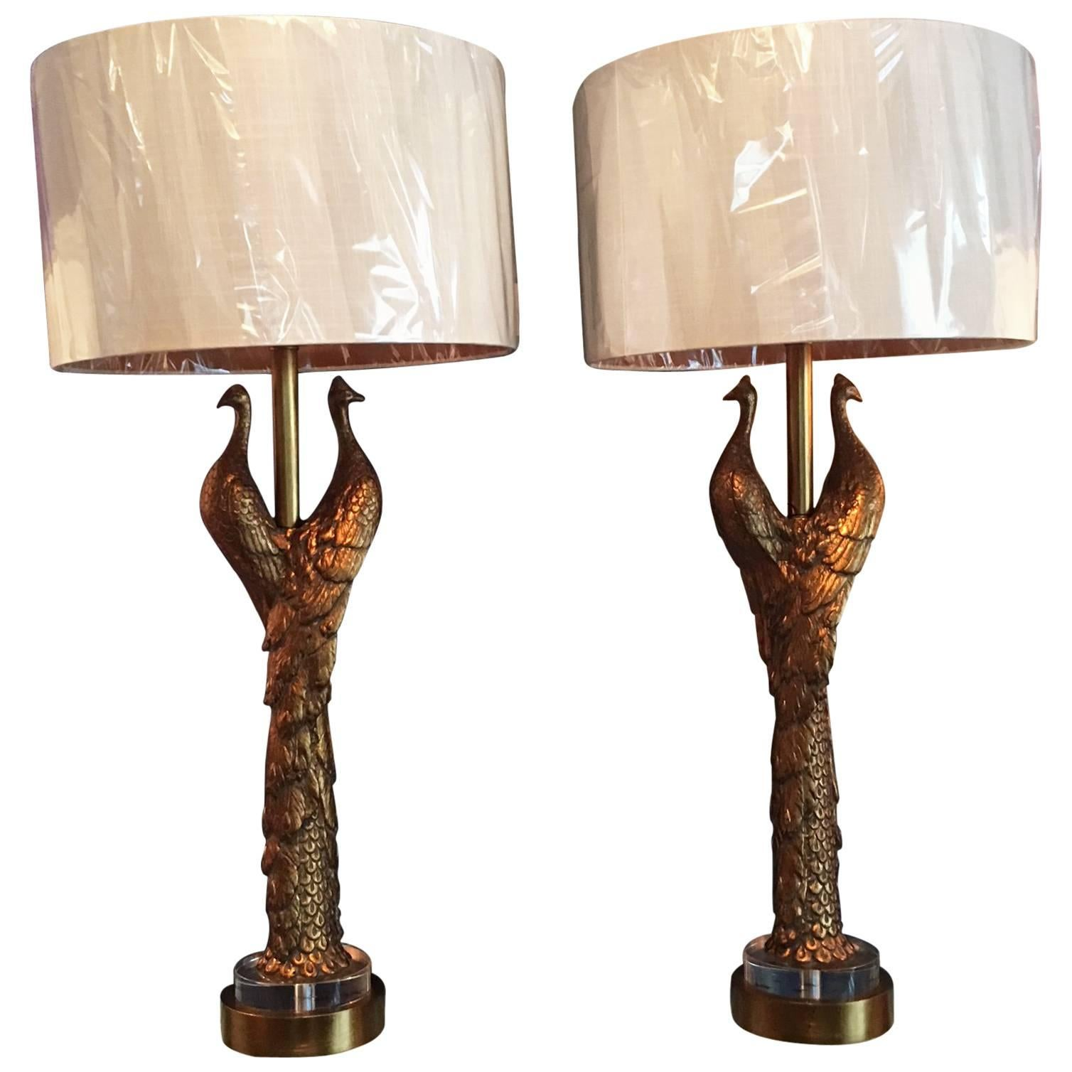 Captivating Pair Of New Peacock Lamps For Sale