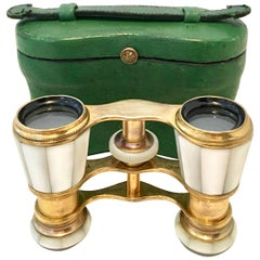 Antique French Mother-of-Pearl and Brass Opera Glasses