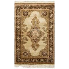 Antique Persian Silk Qum Rug