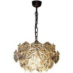 Midcentury Pendant Kinkeldey Royal Hexagonal Crystal and Brass, 1960s