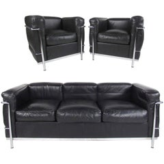 Le Corbusier LC Leather and Chrome Living Room Set for Cassina